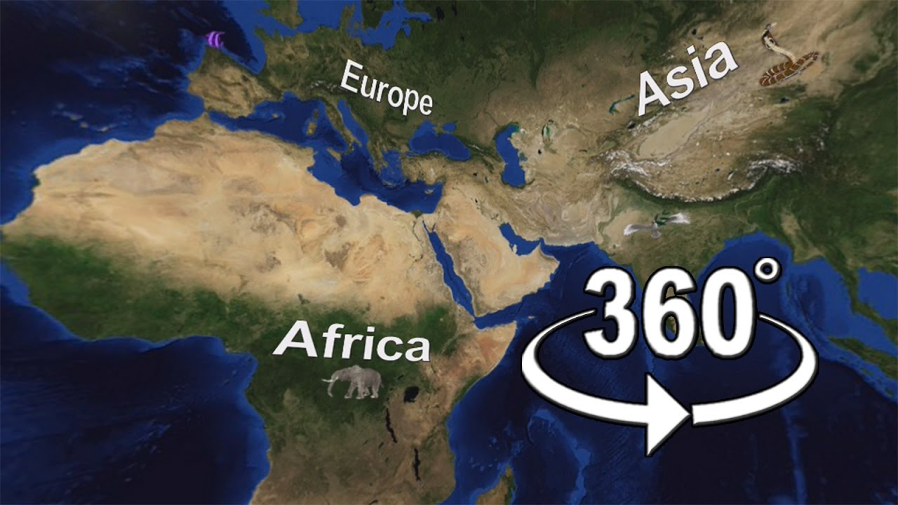 World Physical Map 360° video l first video in worldwide l it can rotate